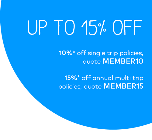 Up to 15% off travel insurance policies. 10%* off single trip policies, quote MEMBER10. 15%* off annual multi-trip policies, quote MEMBER15.