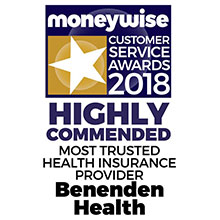 Moneywise Customer Service Awards 2018 - Highly Commended Most Trusted Health Insurance Provider