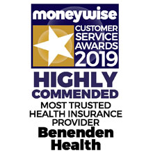 Moneywise Customer Service Awards 2019 - Highly Commended Most Trusted Health Insurance Provider